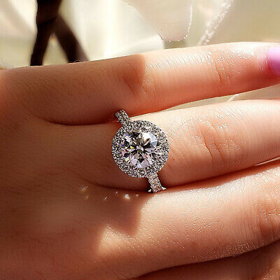 1.90 Ct Halo Round Cut U-Setting Diamond Engagement Ring H Color VS2 GIA 3x Ex