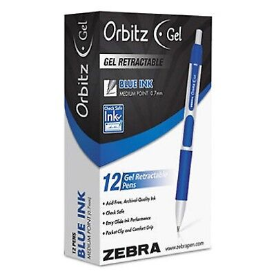Zebra - Orbitz Retractable Gel Pen Blue Ink Medium - Dozen