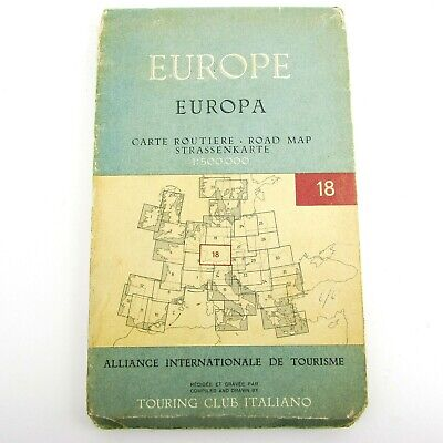 Touring Club Italiano 1954 Road Map South Germany 1:500.000 Vintage