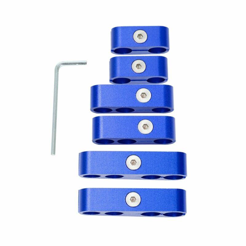 For 302 350 454 Aluminum Spark Plug Wire Loom Separators Dividers 6 Piece Blue