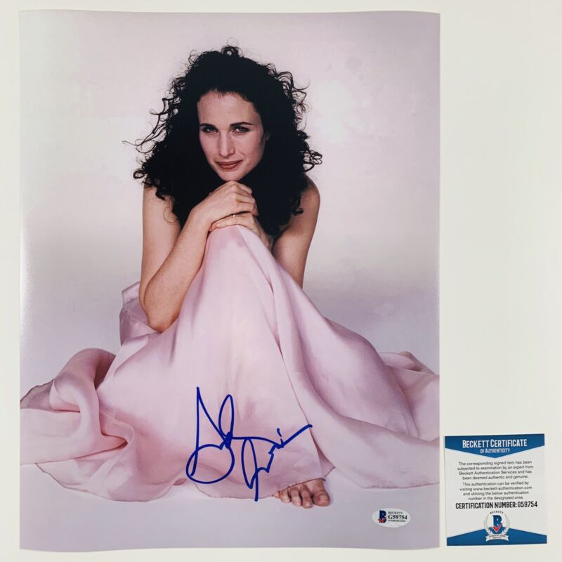 SEXY! ANDIE MCDOWELL SIGNED 11x14 PHOTO AUTHENTIC BECKETT BAS COA #G59754