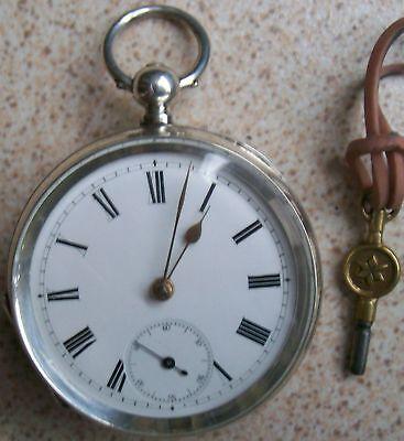 Old Pocket Watch Key Wind Open Face Silver Case 53,5 mm. in diameter
