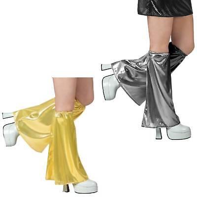 silberne o. goldene glänzende Beinstulpen mit Schlag Party Mottoparty Fasching Party Bein