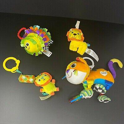 Lot 4 Baby Sensory Stroller Toys Lamaze Cat Sassy Porcupine Lion Rattle Crinkle