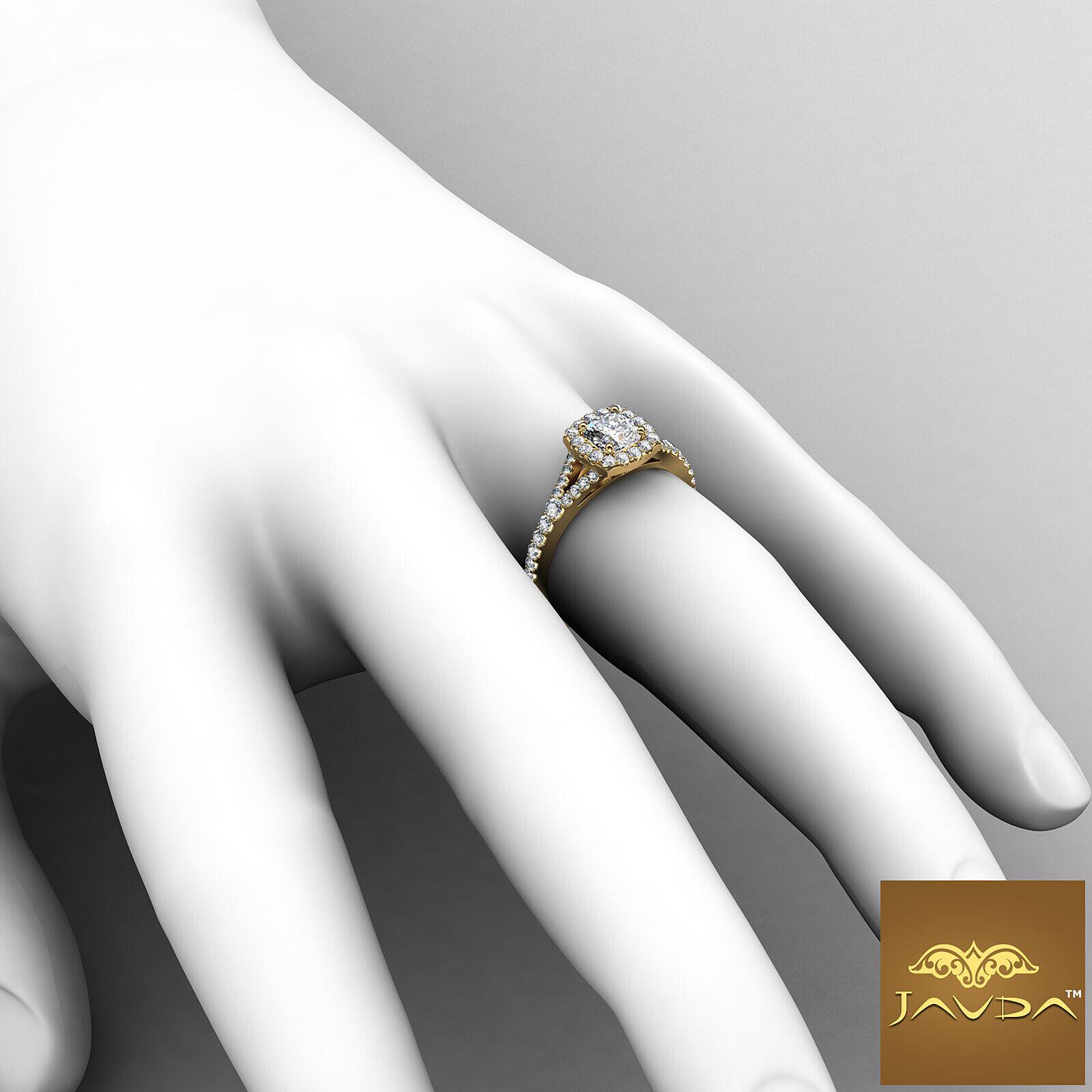 Split Shank Cushion Diamond Engagement Yellow Gold U Pave Ring GIA H VVS2 1 Ct 4