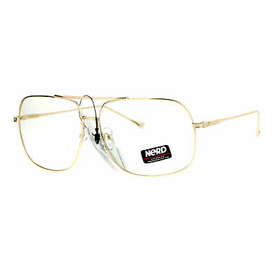 Large Oversized Rectangle Aviator Clear Lens Eye Glasses Metal Vintage Men (Large Rectangle Glasses)
