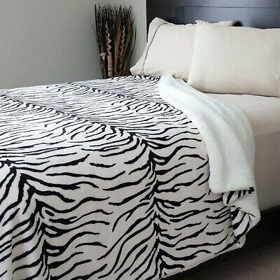 Fleece Blanket Sherpa Backing - King Super Soft Animal Print Leopard Zebra