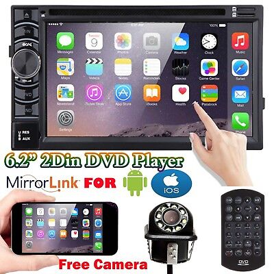 Double DIN 6.2 Inch In dash Car Stereo Radio CD DVD LCD Player Bluetooth +Camera