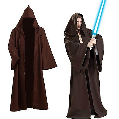 Star Wars Adult Hooded Jedi Brown Robe Costume Cosplay Size S to 3XL