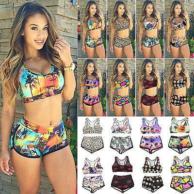 Womens Floral Bikini Set Crop Top High Waist Shorts Bathing Swimsuit Swimwear US ()