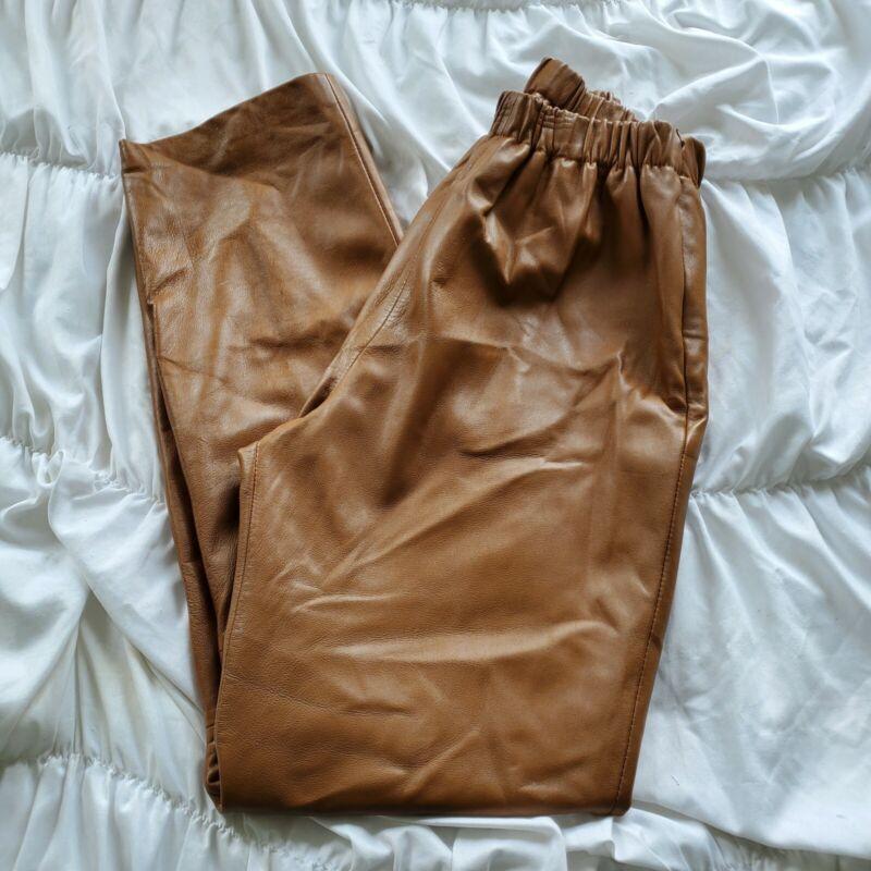 Vintage Leather Paper Bag Elastic High Waisted Pants 6
