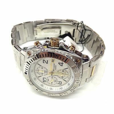 SEIKO Men's SNA619 Silver Gold Two Tone Stainless Steel Chronograph Quartz Watch