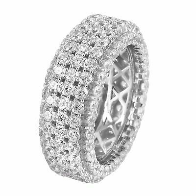 Solitaire Eternity Wedding Band 3 Row Simulated Diamond Ring Men Custom Pinky ()