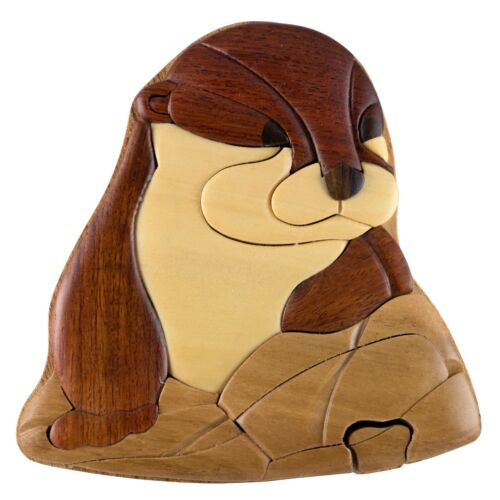 Wood Intarsia Otter Puzzle Box - Secret Trinket Box Inside! Handcrafted New
