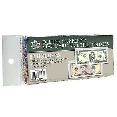 50 CURRENCY DELUXE HOLDERS Semi Rigid Vinyl for Banknotes Money Dollar Bill