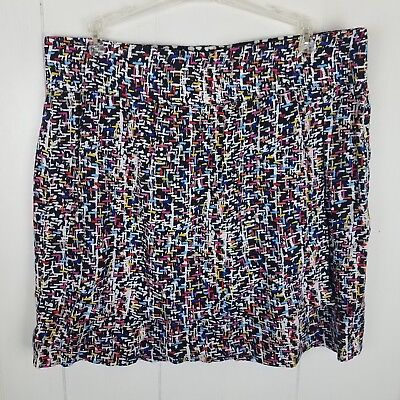 Cabi Skirt Size  L Colorful print pull-on stretch faux wrap reversible