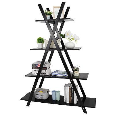 4 Tier Book Shelf Organizer Multimedia Storage Cabinet Rack Stand Home Office