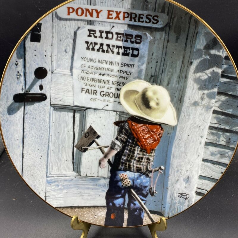 """Children of the American Frontier """"Riders Wanted"""" Collector Plate by Don Cook"""