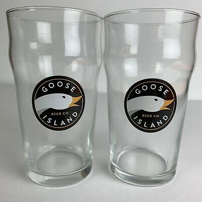 Set Of 2 Goose Island Beer Company 16.oz Pint Style Glass CHICAGO 1988 Beer Pint Glass Set