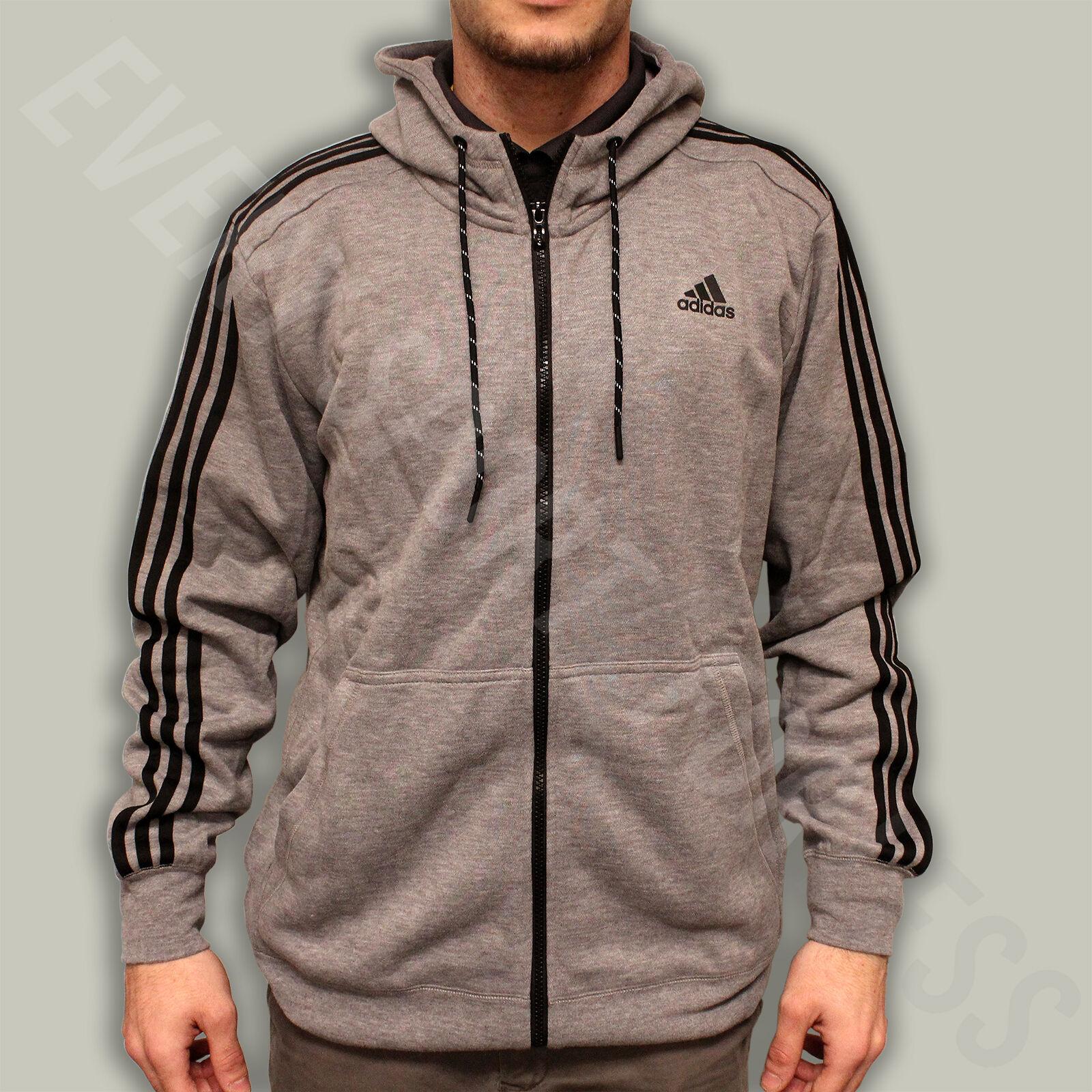 34612c5d Adidas Essentials 3 Stripe FZ Hoodie S17875 Adult Core Heather (NEW) Lists  @ $65