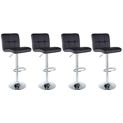 - Set of 4 Counter Height PU Leather Bar Stools Adjustable Swivel Pub Chairs Black