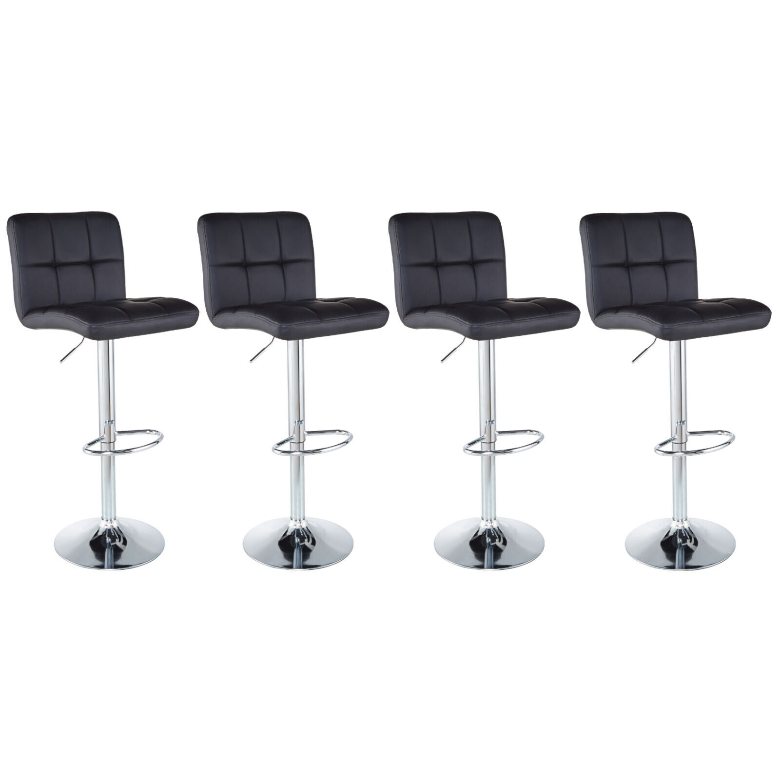 Swell Set Of 4 Counter Height Pu Leather Bar Stools Adjustable Swivel Pub Chairs Black Gamerscity Chair Design For Home Gamerscityorg