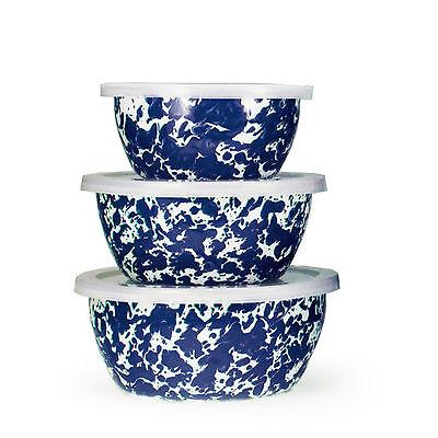 Golden Rabbit Swirled Enamelware Nesting Storage Bowl Set of 3 5 Color -