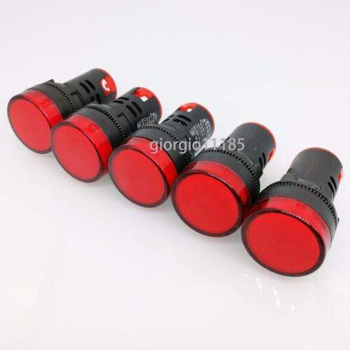 US Stock 5pcs Red LED Power Indicator Signal Light AC DC 12V 22mm AD16-22DS