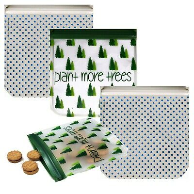 Ziparoos Reusable 4-Piece Snack Bags Eco-Friendly- Plant More Trees comprar usado  Enviando para Brazil