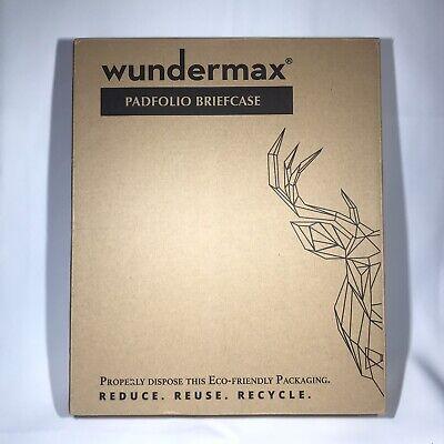 Wundermax Padfolio - Zippered 3 Ring Vegan Leather Binder Organizer W Handle