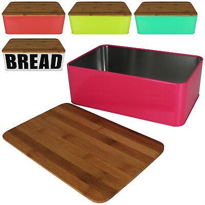 Brotkasten Brotbox Brotkiste Brotkorb Brotbehälter Schneidebrett Bambus Metall