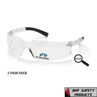 PYRAMEX ZTEK READER SAFETY GLASSES CLEAR BIFOCAL +1.50 LENS S2510R15 (2 (1.50 Safety Glasses)
