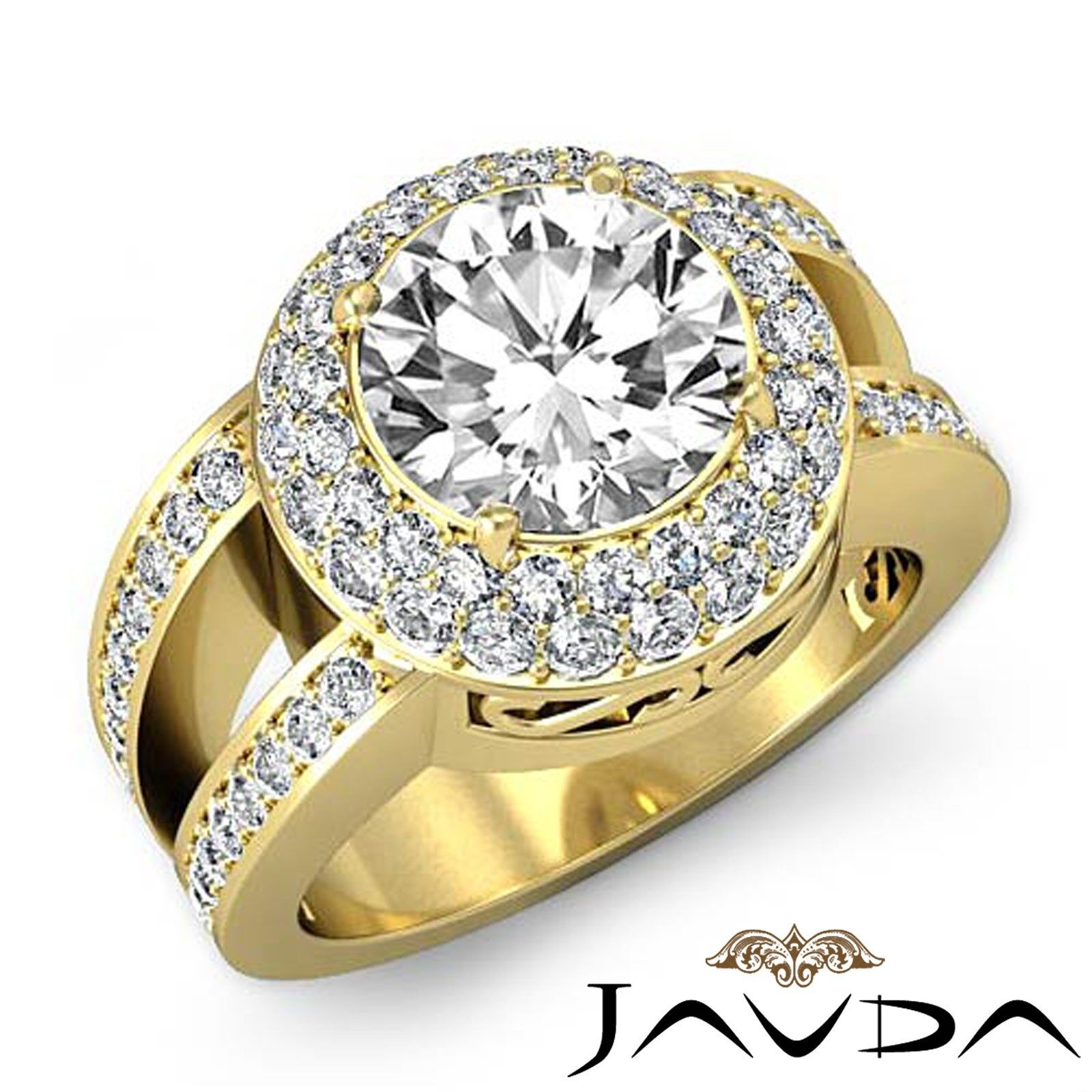 Double Halo Split Shank Round Diamond Engagement Pave Set Ring GIA G VS1 2.85 Ct