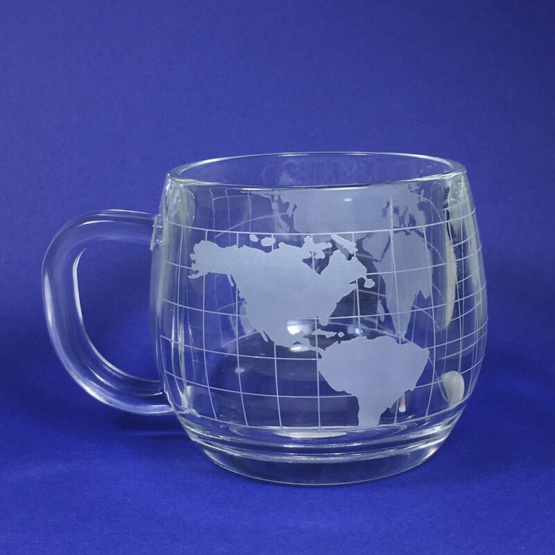 Nestle Nescafe Small Round Clear Glass Globe World Map 8oz  Coffee Mug