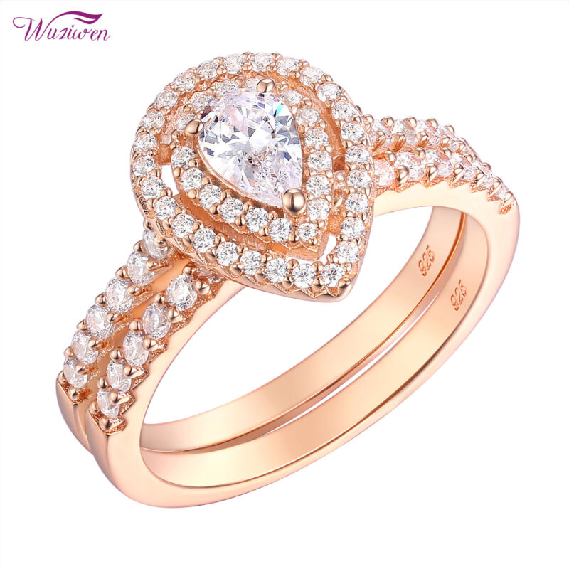 Wedding Rings Engagement Ring Set Rose Gold Pear Cz 925 Sterling Silver Sz 5-10