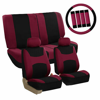 Car Seat Covers Burgundy Full Set for Auto w/Steering Wheel/Belt Pad/4Head Rest Car Seat Belt Cover Pad