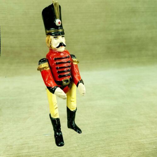 "Vintage Ceramic Solider 5"" Christmas Ornament Jointed Hinged Enesco Nutcracker"