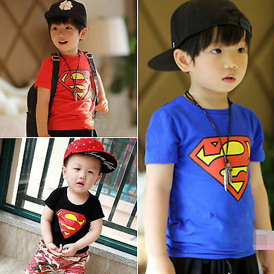 Baby Kinder Jungen Superman T-Shirt Sommer Kleidung Kurzarm Tops Tee Oberteil DE (Shirt Jungen Kleidung)