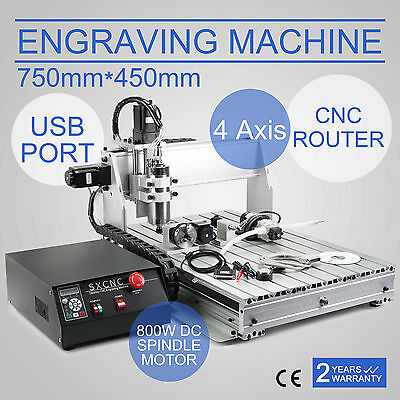 4 Axis Usb Cnc Router Engraver Engraving Cutter 6040t Ball Screw 800w Desktop