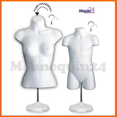 2 Mannequin Torsos W 2 Stands 2 Hangers - White Female Child Dress Form Set