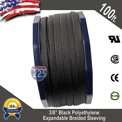 100 Ft 38 Black Expandable Wire Cable Sleeving Sheathing Braided Loom Tubing