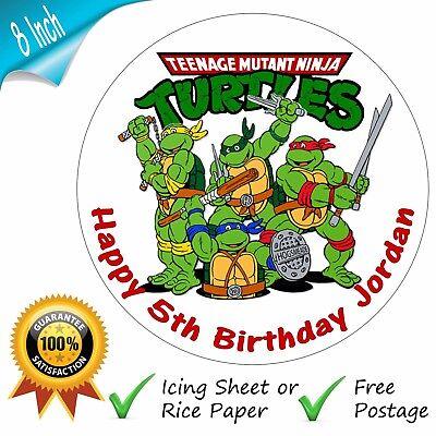 NINJA TURTLES PERSONALISED PRINTED CAKE TOPPER (Teenage Mutant Ninja Turtle Cake Topper)