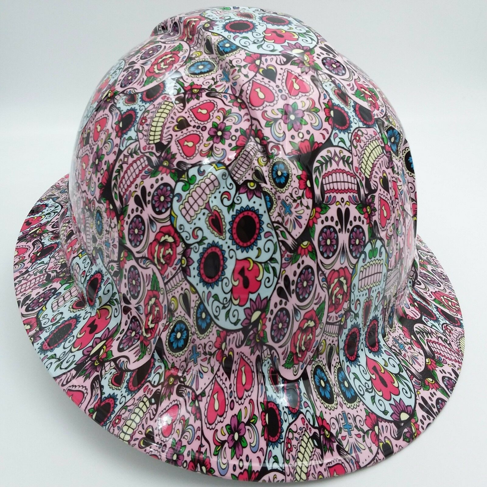 Hard Hat FULL BRIM custom hydro dipped , OSHA approved SUGAR SKULLS NEW 3