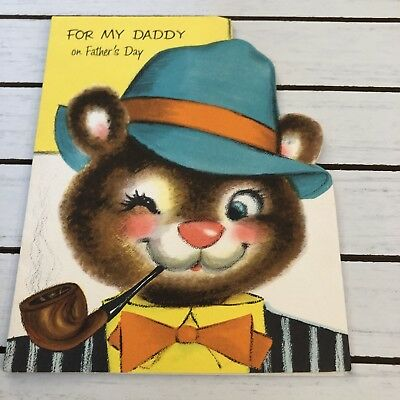 Vintage Greeting Card Daddy Fathers Day Bear Pipe Hat
