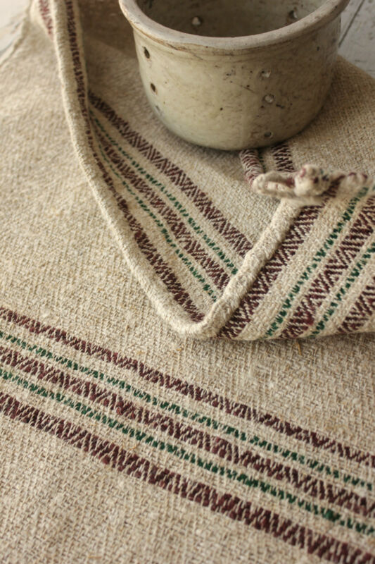 Antique GRAIN SACK  Feed bag vintage homespun RARE folk art textile COARSE