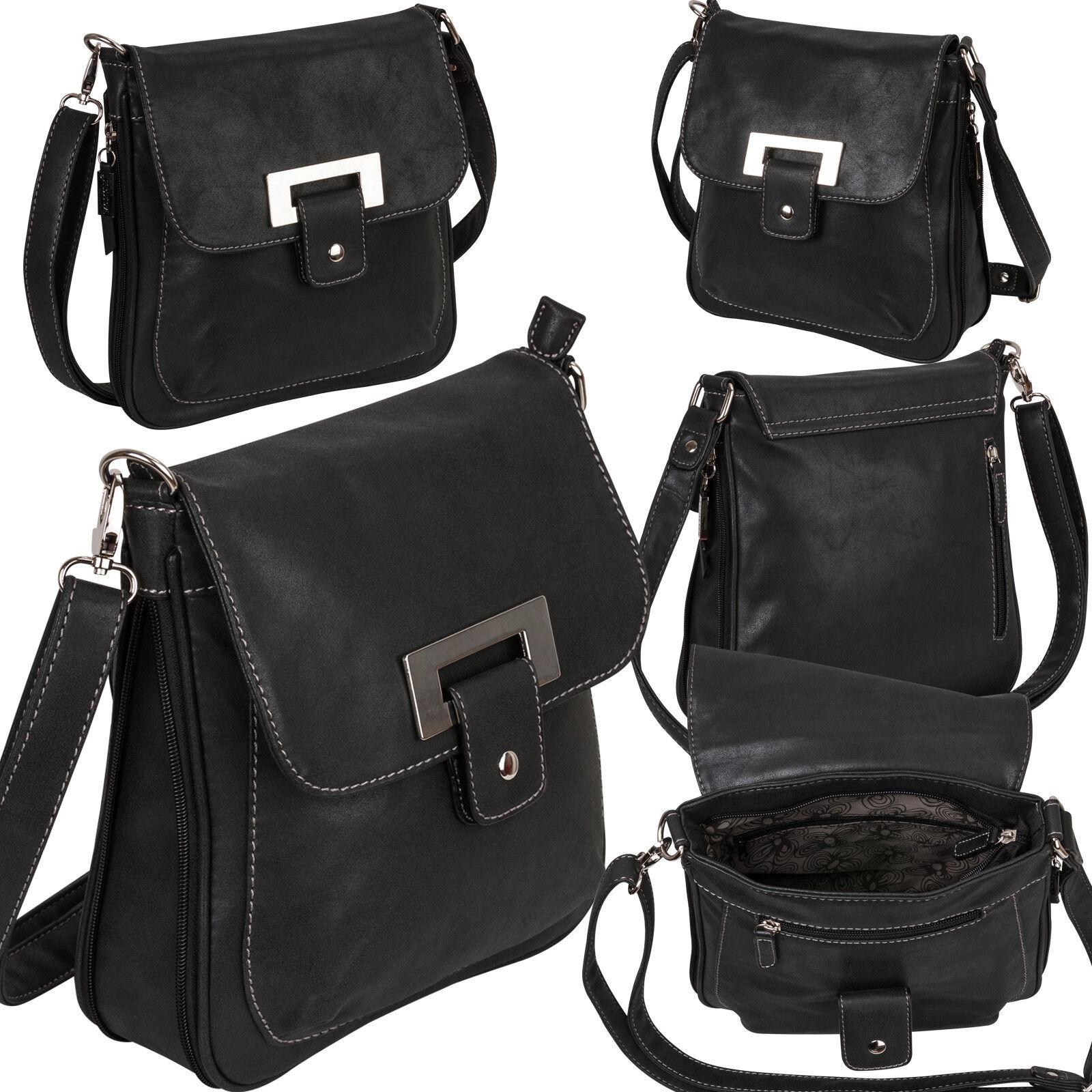 Bag Street Damentasche Umhängetasche Handtasche Schultertasche K2 T0101 Schwarz