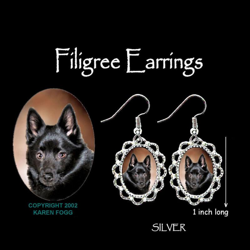 SCHIPPERKE DOG - SILVER  FILIGREE EARRINGS Jewelry