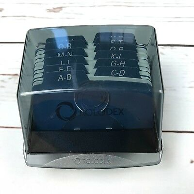 Vintage Rolodex File Organizer Lid Desk Top Black Index Address Card Holder