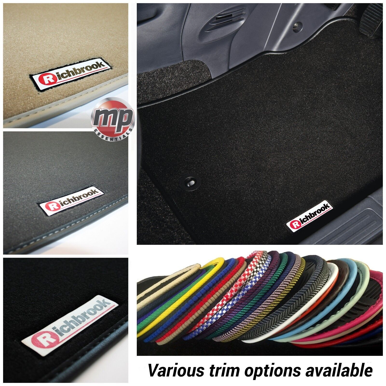 Perfect Fit Beige Carpet Car Floor Mats for Fiat Panda 03/> Black Ribb Trim