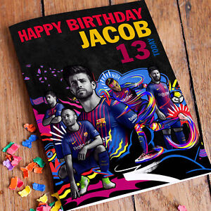 FC BARCELONA MESSI,  PIQUE Personalised Birthday Card! FAST 1st Class Shipping!